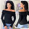 Женский стильный вязаный свитер с открытыми плечами