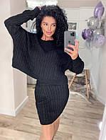 Жіночий стильний в'язаний костюм спідниця і кофта, фото 1