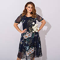 Женское летнее шифоновое платье размеры 52, 54, 56,58