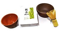 Чай Матчу + вінчик, чаша і піала. Подарункова упаковка. Комплект для приготування японського чаю Маття, фото 1