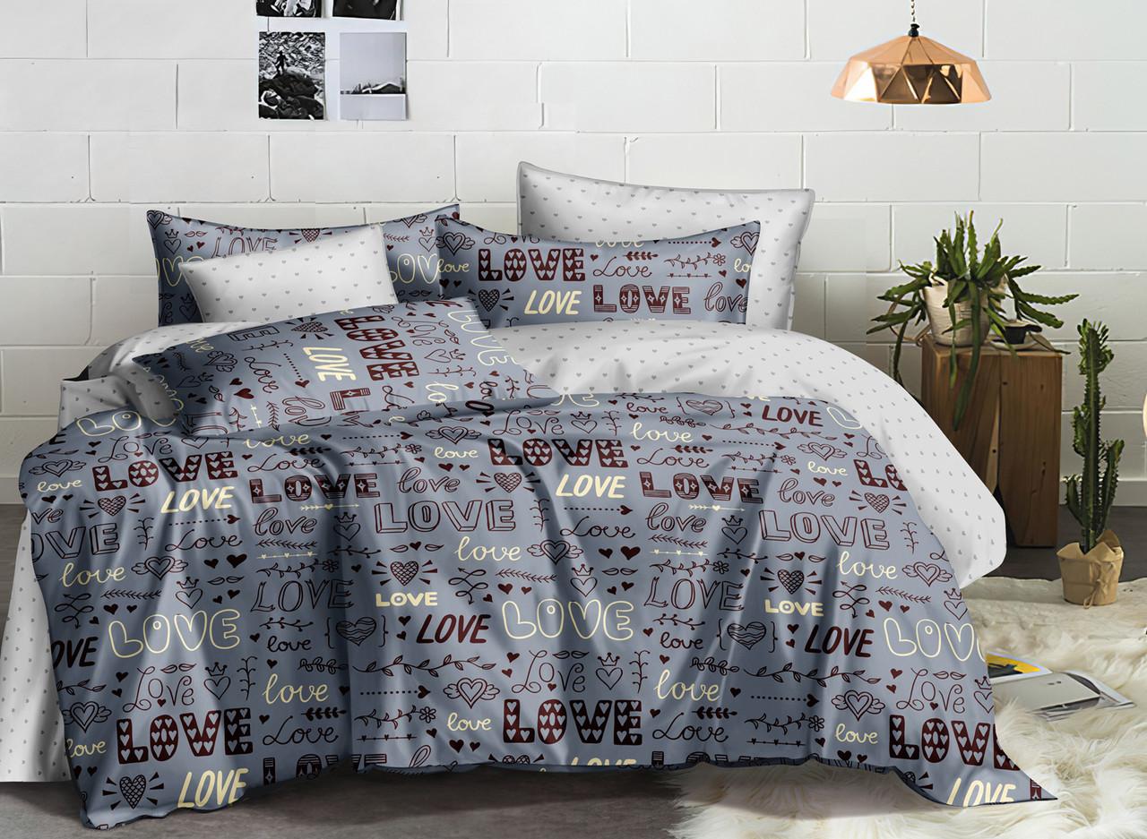 Комплект постельного белья евро из сатина Grey Love 200х220 см