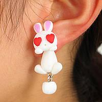 Сережки гвоздики Милі кролики Подарунок дівчинці на великдень, фото 1