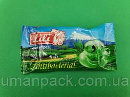 """Серветка для дезінфекції рук 15шт """"Lili """"Зелений чай"""" (1 пач.)"""