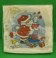Серветки паперові новорічні (ЗЗхЗЗ, 20шт) La FleurНГ Подарунки для зайчиків (202) (1 пач)