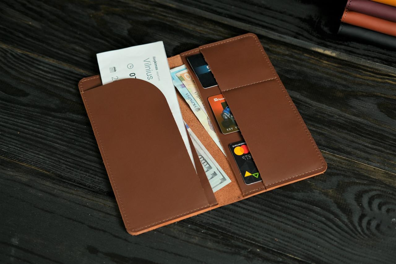 """Шкіряний гаманець """"Лонг Тревел"""", шкіра Grand, колір Віскі"""