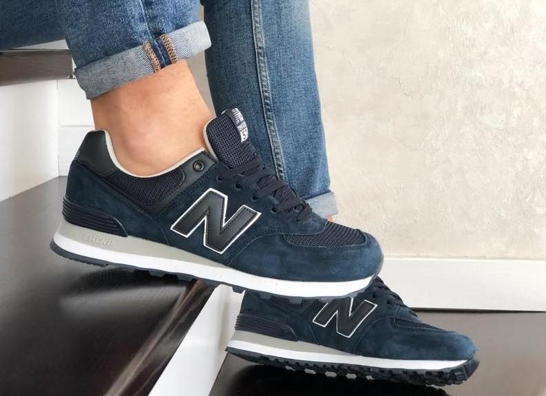 Мужские кроссовки синие натуральный замш и текстиль в стиле New Balance 574