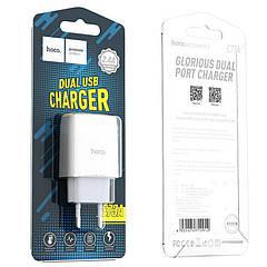 Зарядное устройство USB адаптер Hoco C73A 2.4A original Белый