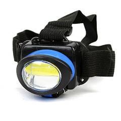 Фонарик светодиодный на лоб BL 539 COB LED 5W фонарь на батарейках синий