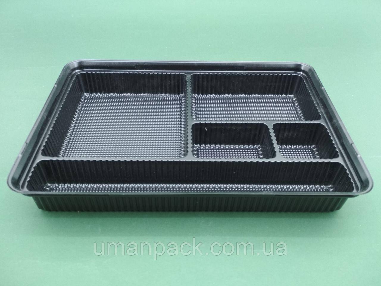 Упаковка для суши с делениями ПС-610ДЧ 27,5*19,5*40 (50 шт)