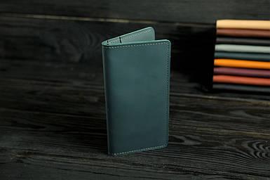 """Кожаный кошелек """"Лонг Тревел"""", кожа Grand, цвет Зеленый"""