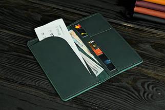 """Кожаный кошелек """"Лонг Тревел"""", кожа Grand, цвет Зеленый, фото 3"""