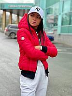 Жіноча коротка куртка з плащової тканини з капюшоном, фото 1