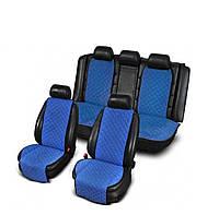 Накидки з алькантари блакитні на сидіння авто (комплект перед і зад), фото 1