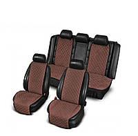 Накидки из алькантары коричневые на сиденья авто (комплект перед и зад)