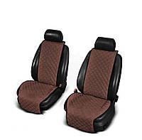 Накидки з алькантари коричневі на сидіння авто (передні), фото 1