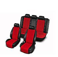 Накидки из алькантары красные на сиденья авто (комплект перед и зад)