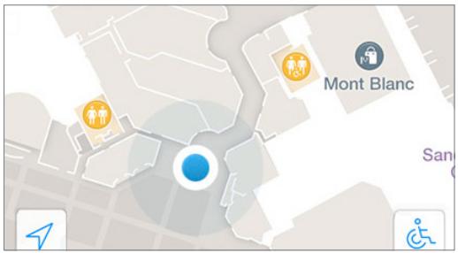 Користувачі можуть легко побачити своє поточне місце розташування в приміщенні на карті місця проведення.
