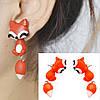 Серьги гвоздики Милые лисички Подарок девочке детские сережки