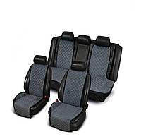 Накидки из алькантары серые на сиденья авто (комплект перед и зад)