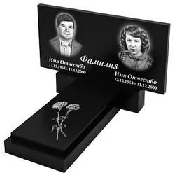 Подвійний пам'ятник з граніту з плитою (100-50) Д-01/3