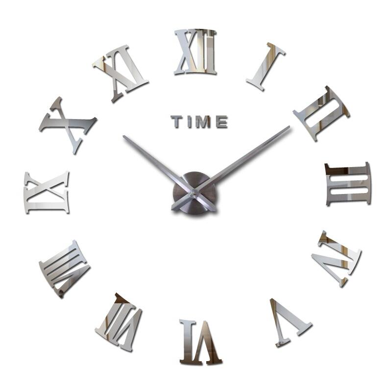Великі Дизайнерські настінні 3Д годинники 3D DIY Clock від 50 до 120см 003Ss (Римські цифри) Срібло