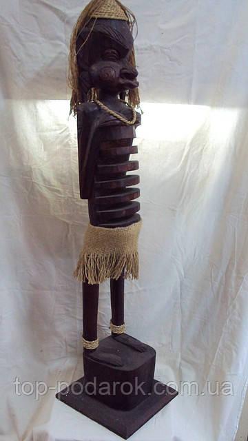 Статуэтка деревянная Маори для газет или под диски высота 100см