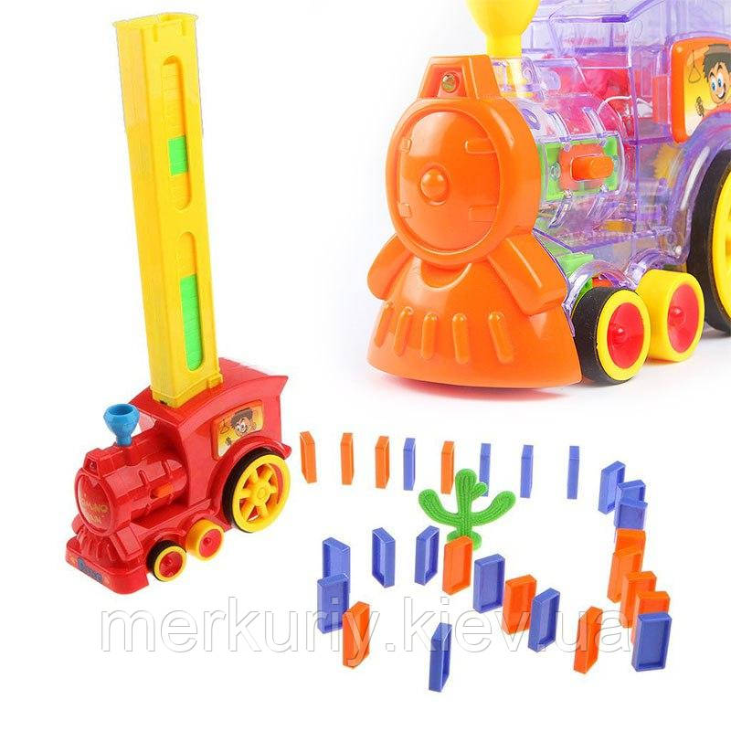 Дитяча іграшка паровозик з доміно Intelligence Domino | Поїзд-доміно Happy Truck sciries COLORS 100 деталей