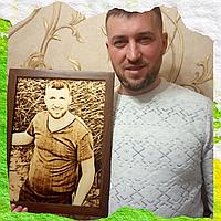 Оригинальная картина подарок охотнику (выжженный портрет под заказ)