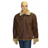 .Дубленка мужская светло-коричневая, верх-натуральный замш с искуственным мехом