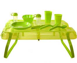Компактний і зручний набір посуду у валізі-трансформері набір посуду для пікніка