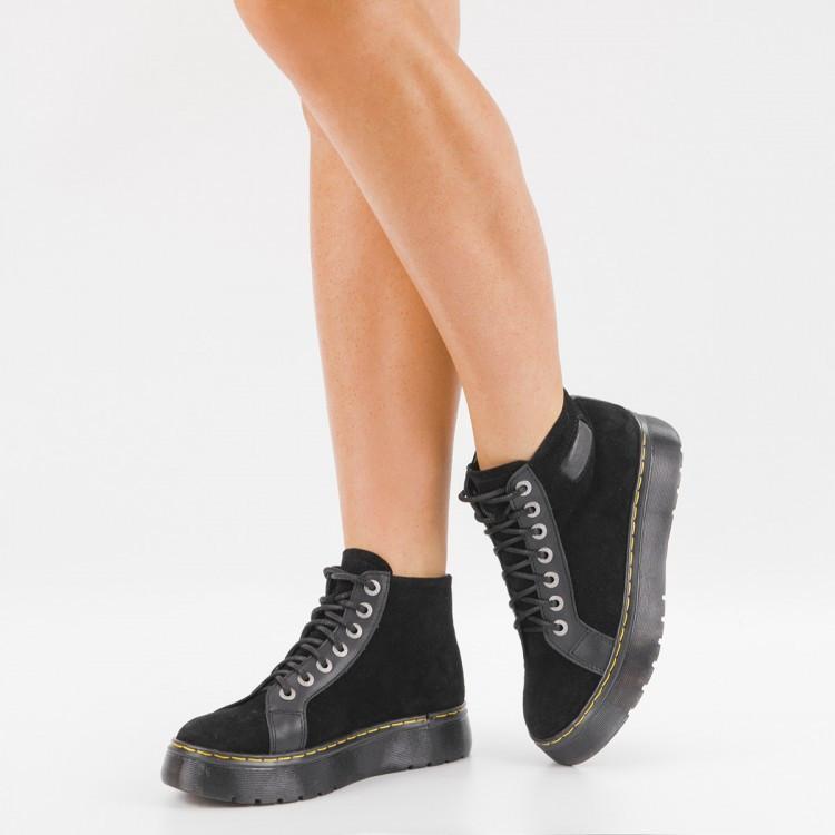 Ботинки замшевые на платформе 104-03