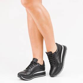 Кроссовки кожаные черные на черной подошве Размеры 36-41