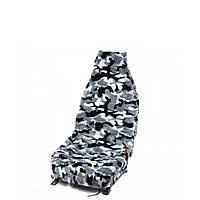 Чехлы на авто сиденья меховые Камуфляж черно-белый (полный комплект), фото 1