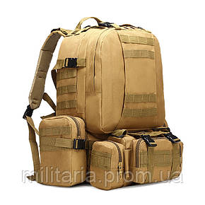 Тактический рюкзак с подсумками, рюкзак штурмовой военный на 50 литров Coyote (1010-kms-coyote), фото 2