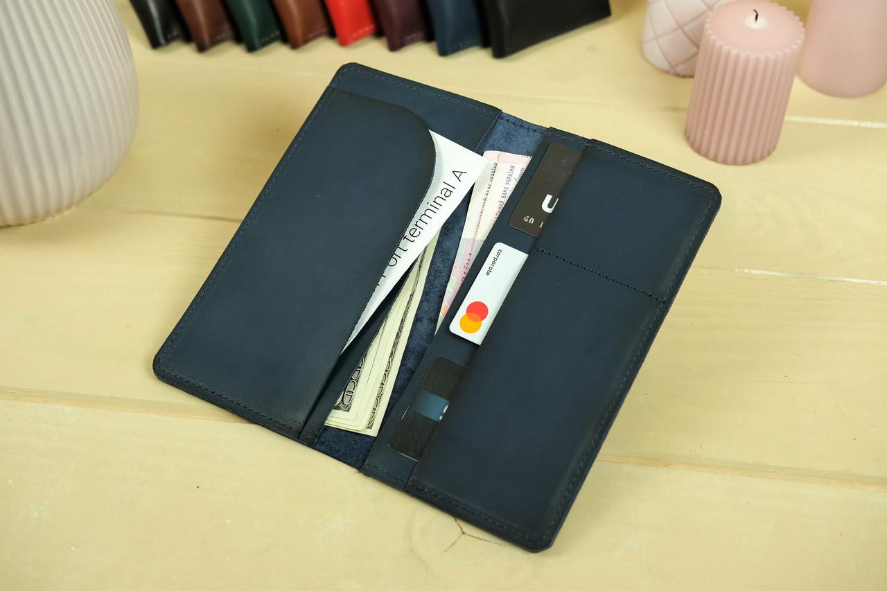"""Шкіряний гаманець """"Лонг Тревел"""", Шкіра Італійський краст, колір Синій"""