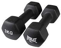 Гантели для фитнеса з виниловым покрытием (пара) 3 КГ Everlast черные