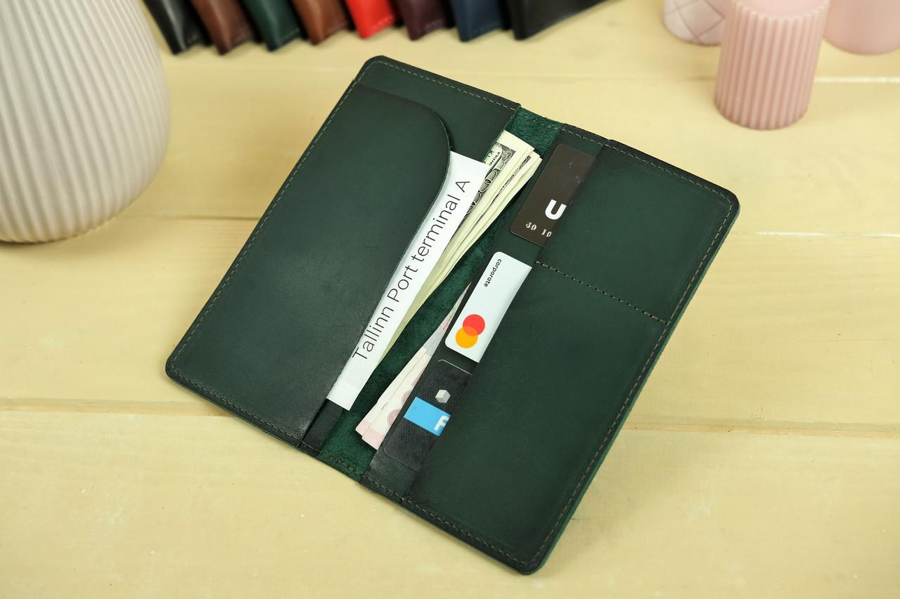 """Шкіряний гаманець """"Лонг Тревел"""", Шкіра Італійський краст, колір Зелений"""