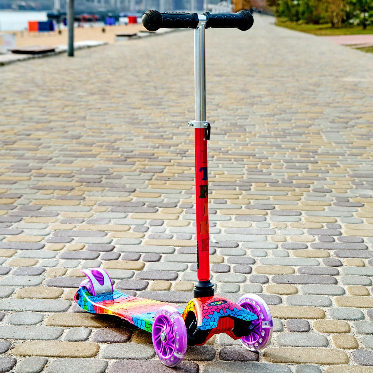 Самокат двухколёсный детский SPORT KIDS 2583 с фарой со светящимся эффектом Фиолетовый