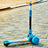Самокат детский складной трехколесный SPORT KIDS 2585 со светящимися колесами Голубой, фото 3