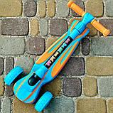 Самокат детский складной трехколесный SPORT KIDS 2585 со светящимися колесами Голубой, фото 2