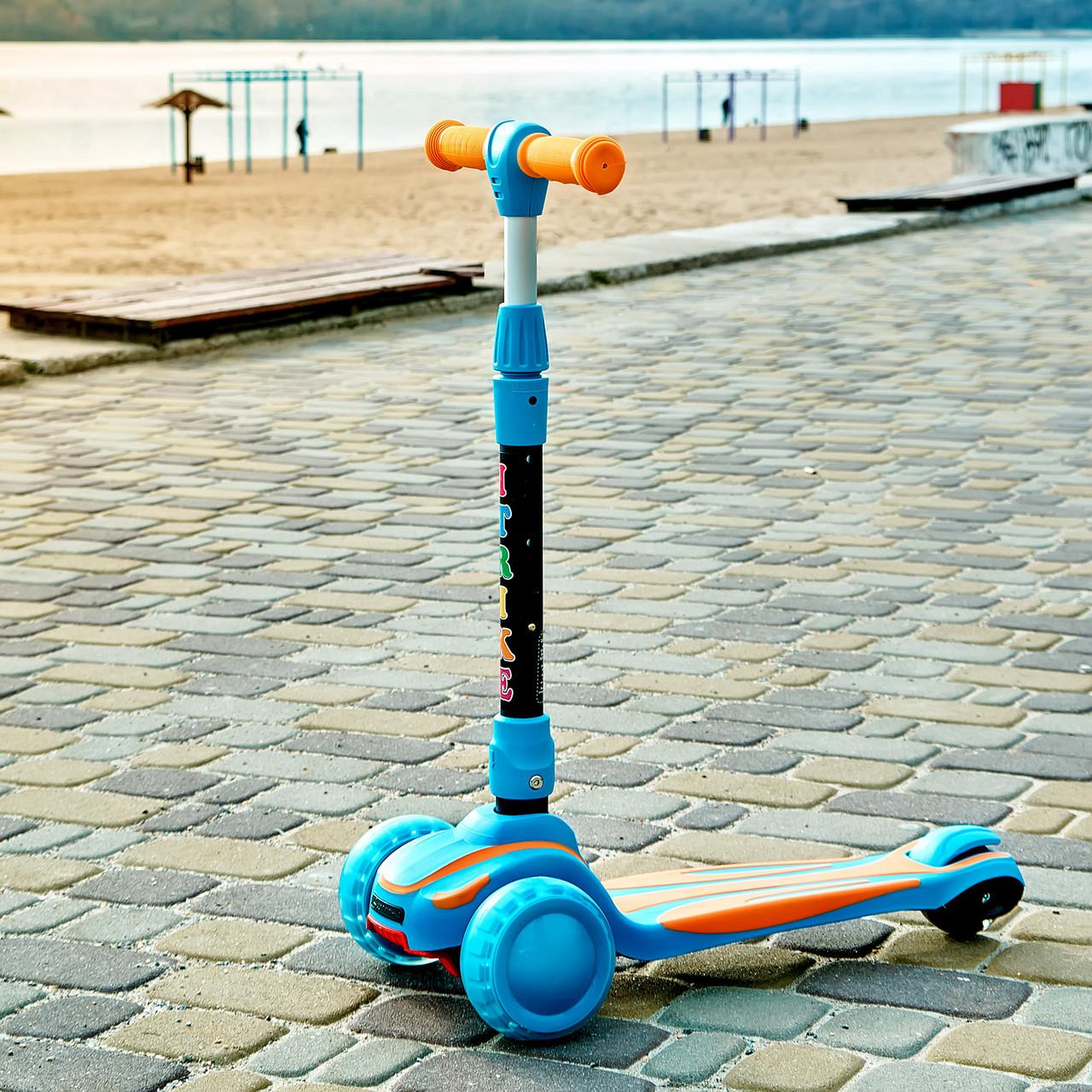 Самокат детский складной трехколесный SPORT KIDS 2585 со светящимися колесами Голубой