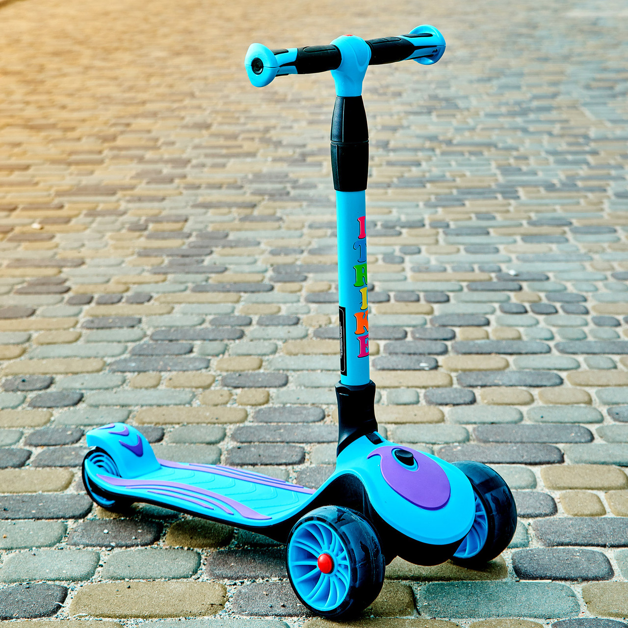 Самокат триколісний дитячий складаний SPORT KIDS 2587 зі світними колесами Синій