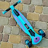Самокат триколісний дитячий складаний SPORT KIDS 2587 зі світними колесами Синій, фото 3