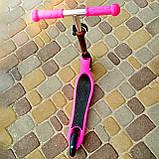 Самокат дитячий двоколісний Дитячий самокат беговел SPORT KIDS 2597 Рожевий з ВИДЕООБЗОРОМ!, фото 2