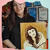Оригинальный сувенир подарок маме на 8 марта (Выжженный портрет по фото под заказ)