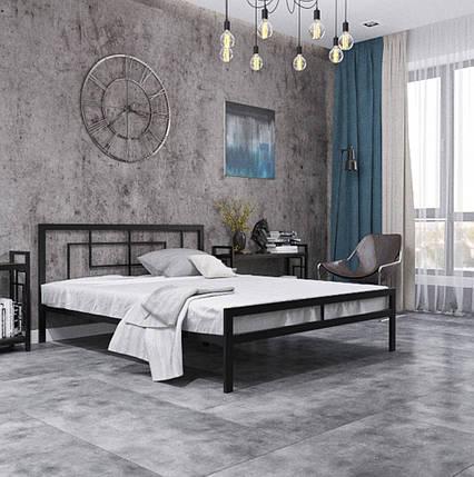 Кровать Квадро черный бархат 190*140 в стиле Лофт (возможное изготовление в цветах: белый, золото, металлик), фото 2