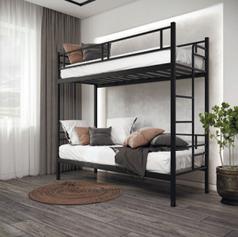 Кровать 2 яруса Дабл черный бархат 190*80 в стиле Лофт (возможное изготовление в цветах: белый, золото,
