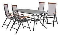 Комплект садових меблів з металу (4 складних стільця + стіл 150 см ), фото 1