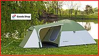 Палатка туристическая четырехместная однокомнатная двухслойная с тамбуром Acamper Monsun 4-х местная зеленая