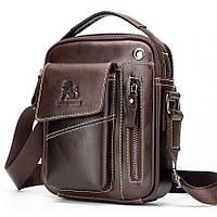 Мужская сумка через плечо Натуральня кожа Барсетка Мужская кожаная сумка для документов планшет Коричневый